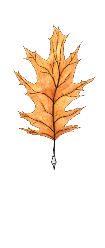 A writing quill made from an oak leaf.